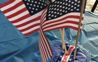 Patriotic picture of flags to elicit voting