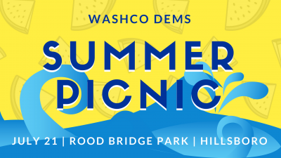Summer Picnic banner in yellows and blues. All information is also in text below!