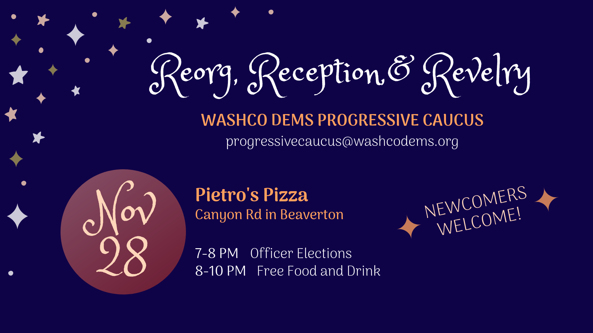 WashCo Dems 2018 Progressive Caucus Reorg and Party