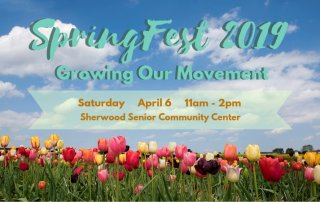 spring fest fundraiser promotional poster for Saturday April 6 11am-2pm Sherwood Senior Community Center