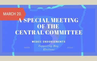 Poster promoting the March 20 2019 special meeting to endorse candidates