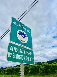 washington county democrats adopt-a-road sign