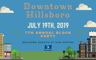 city scene illustration for Hillsboro block party