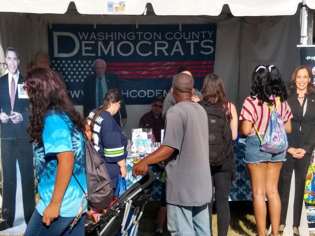 Pictures of People Visiting the WashCo Dems Booth