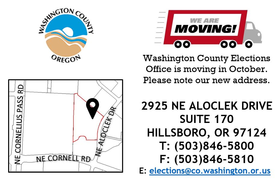 map of the new location of the washington county elections office building
