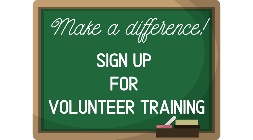 blackboard that says make a difference sign up for volunteer training