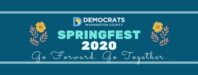 Springfest 2020 promo dark blue with floral elements