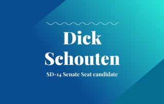SD-14 Senate Seat candidate text with blue and teal background with candidate name