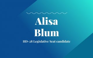 HD-28 Legislative Seat candidate text with blue and teal background with candidate name