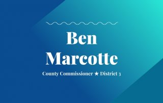 2020 primary candidate ben marcotte with washco dems logo blue and teal background