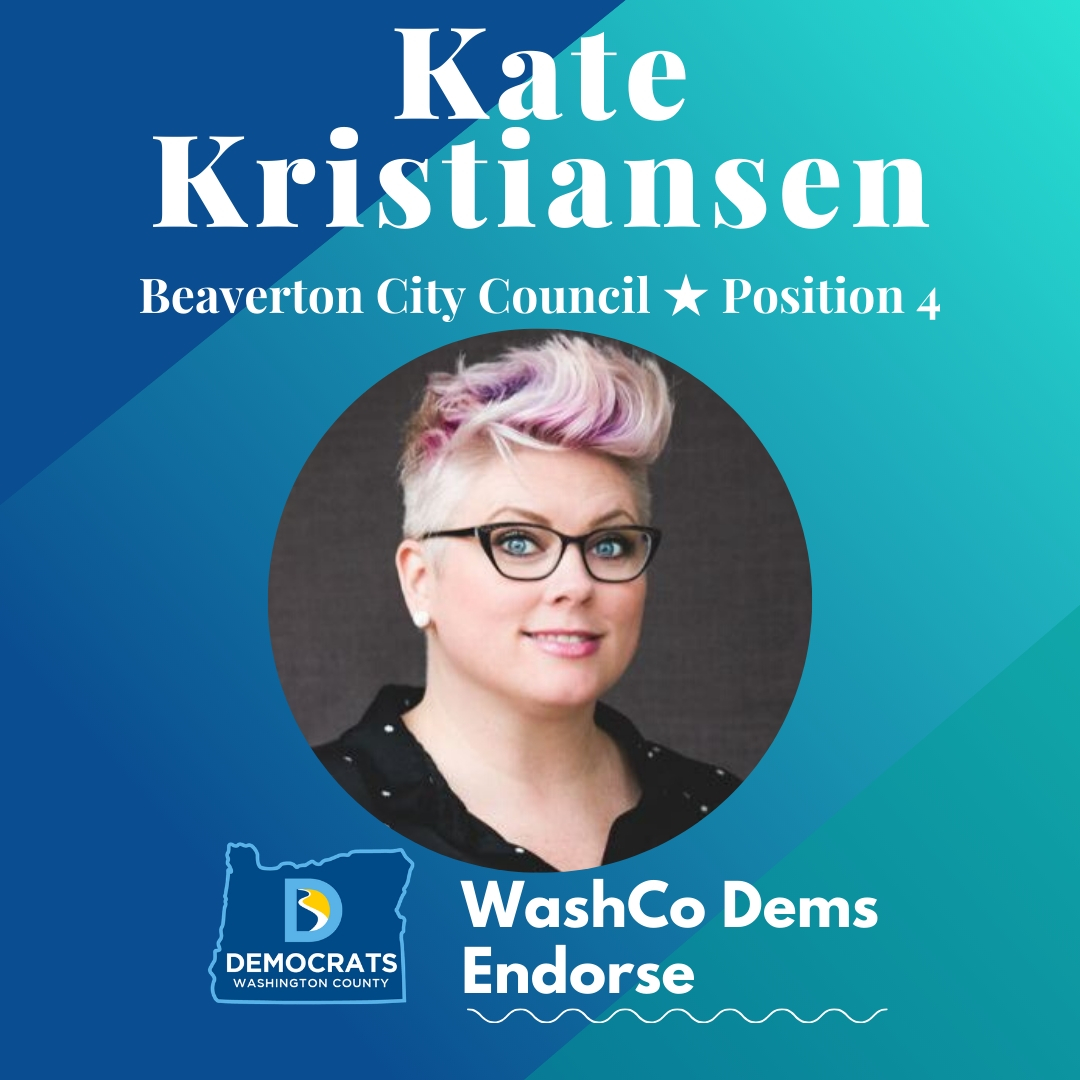 2020 primary candidate kate kristiansen photo with washco dems logo blue and teal background