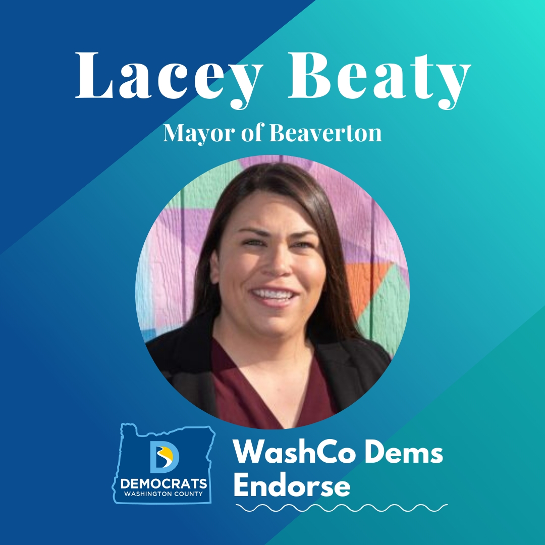 2020 primary candidate lacey beaty photo with washco dems logo blue and teal background