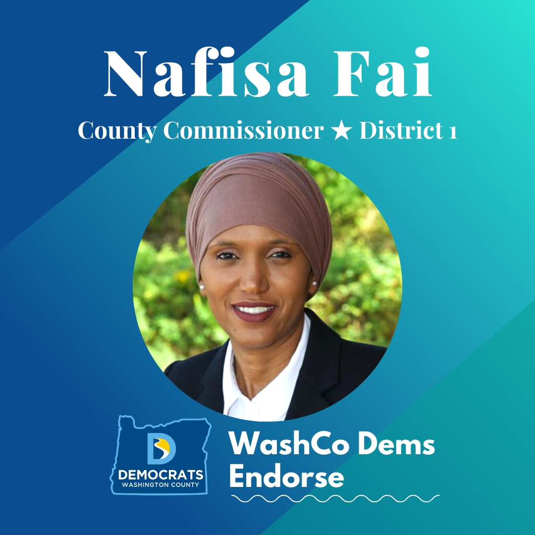 2020 primary candidate nafisa fai photo with washco dems logo blue and teal background
