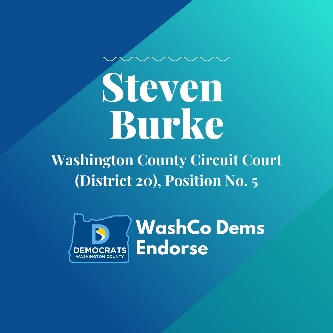 2020 primary candidate steven burke with washco dems logo blue and teal background