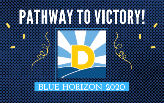 blue horizon logo with navy blue background and yellow party streamers to promote online fundraiser