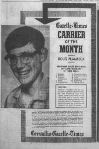 old black and white newspaper photo of Doug Plambeck with article stating he was newspaper carrier of the month