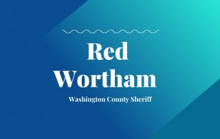 2020 primary candidate rec wortham with washco dems logo blue and teal background