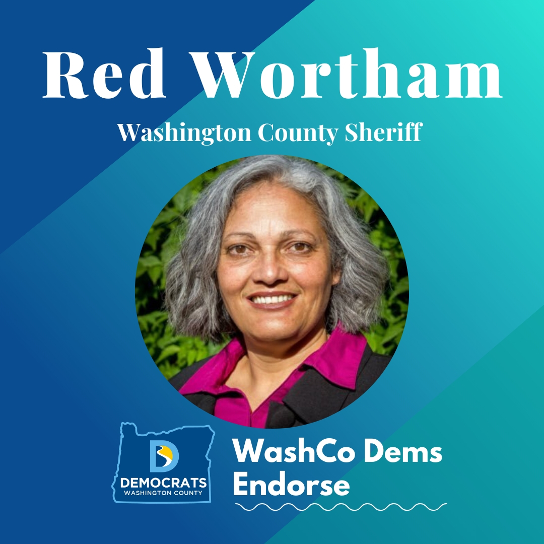 2020 primary candidate red wortham photo with washco dems logo blue and teal background