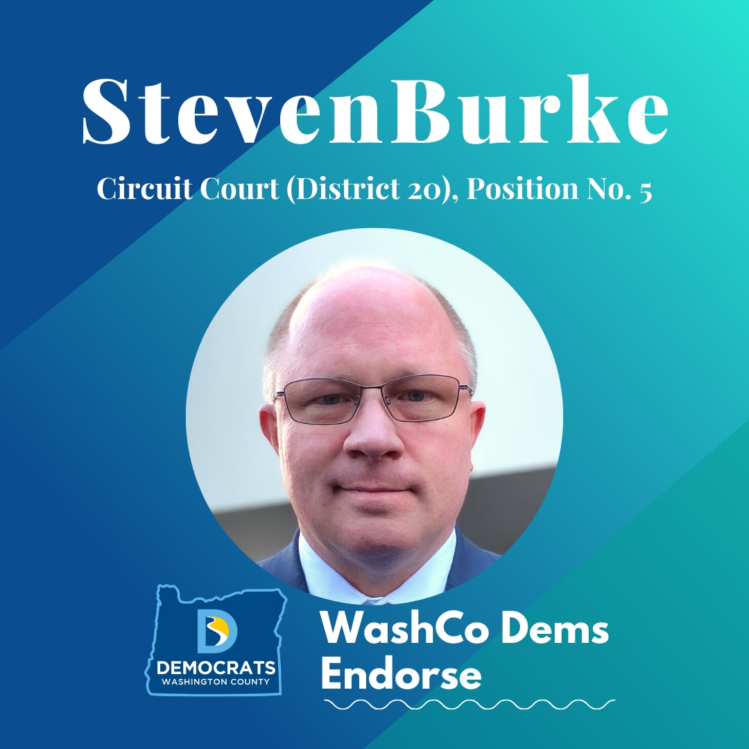 2020 primary candidate steven burke photo with washco dems logo blue and teal background