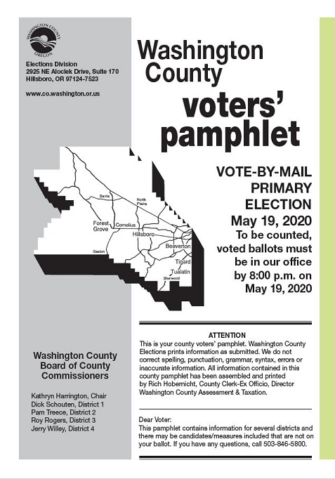front page of the washington county voters pamphlet