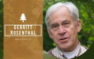 photo of Gerritt with a forest backdrop and a title line giving his name and the position he is running for