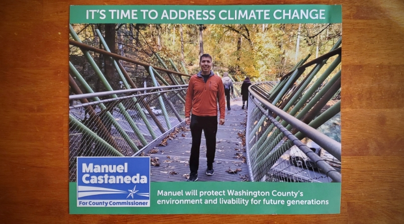 paper mailer of manuel castaneda. Photo of him standing on a bridge