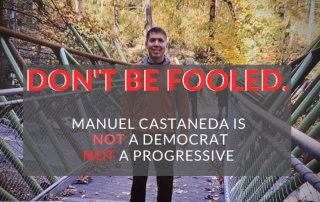 paper mailer of manuel castaneda. Photo of him standing on a bridge