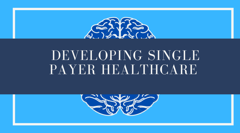 "The title ""Developing Single Payer Healthcare"" on a blue background"