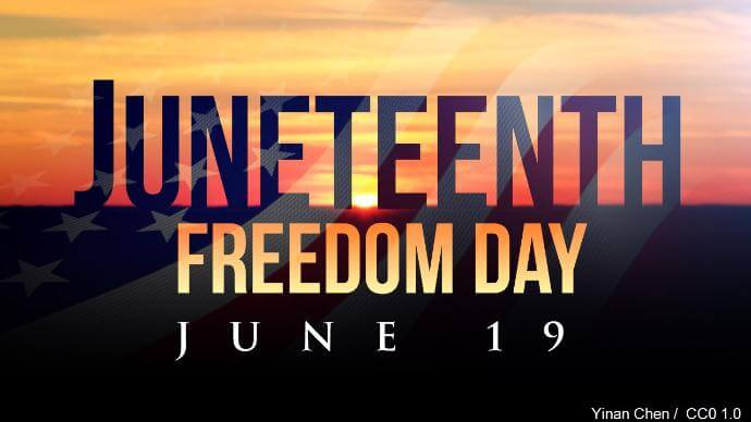 Background is a sunset with text overlay Juneteenth freedon day