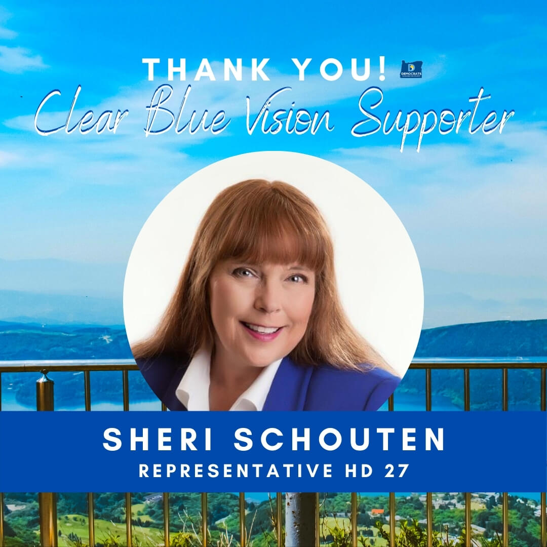 Clear blue vision branding with candidate head shot