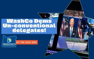 Dark blue background with a star overlay featuring Joe Biden on a large TV screen