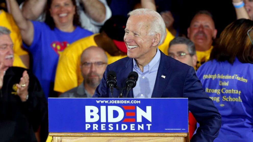Biden at a Pittsburgh rally in 2020