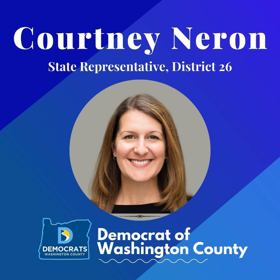 courtney neron 2020 candidate headshot photo with washco dems logo blue background