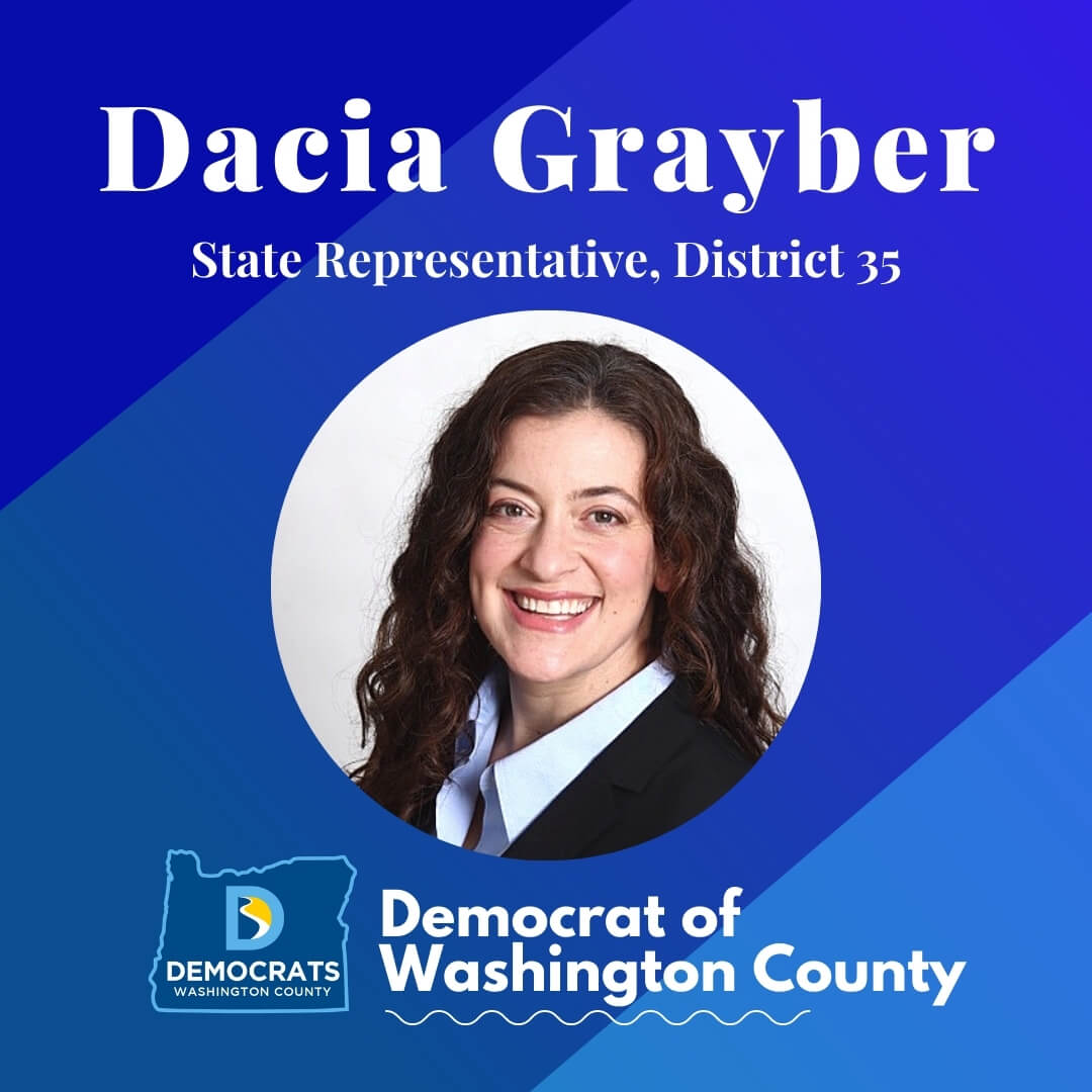 dacia grayber 2020 candidate headshot photo with washco dems logo blue background