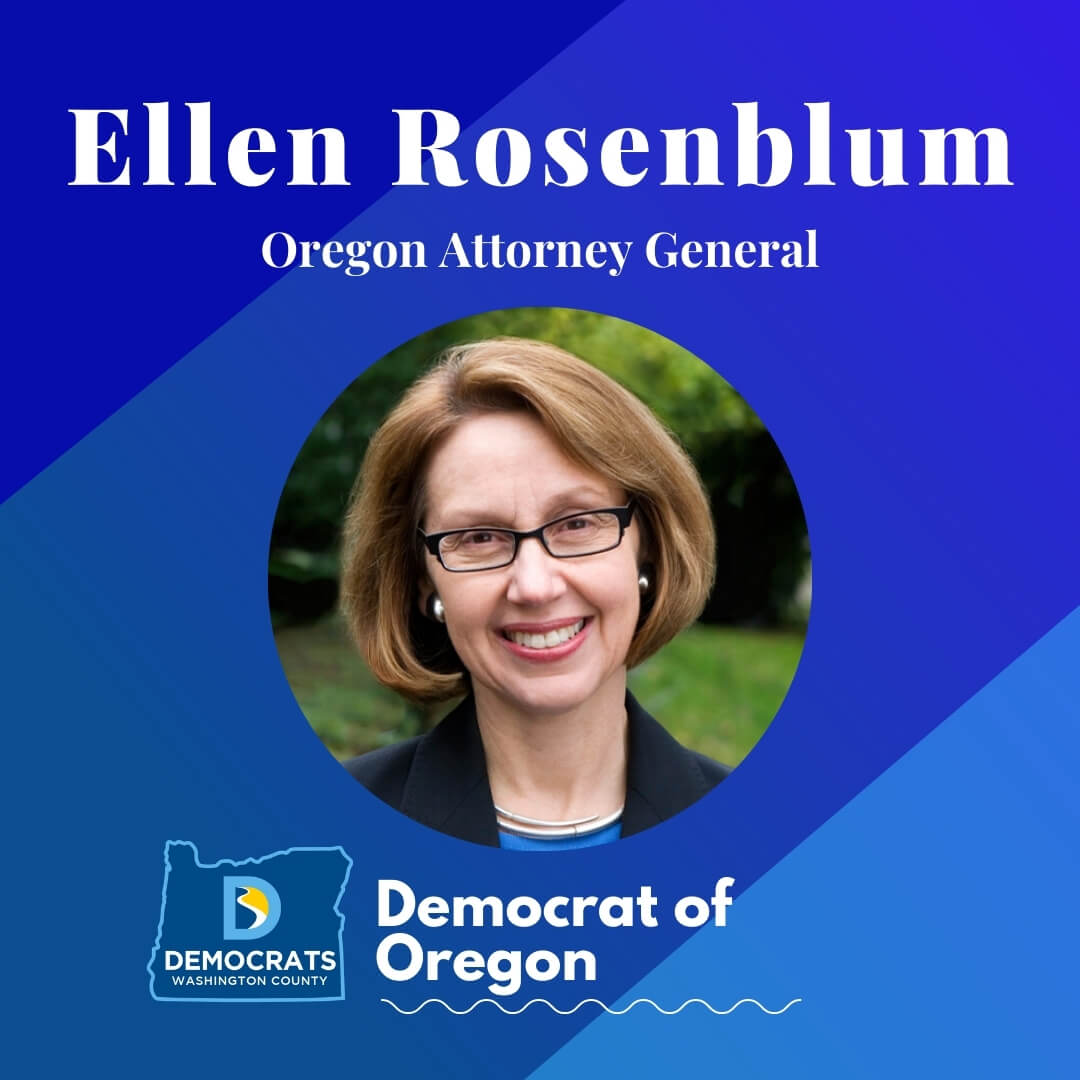 ellen rosenblum 2020 candidate headshot photo with washco dems logo blue background