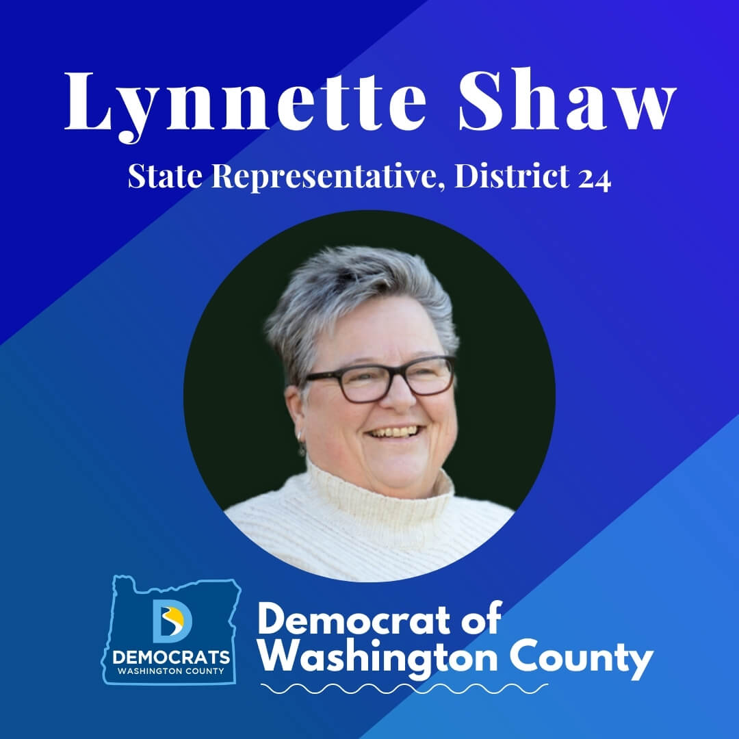 lynnette shaw 2020 candidate headshot photo with washco dems logo blue background