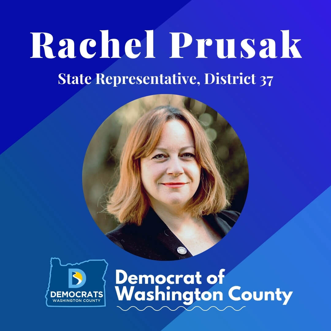 rachel prusak 2020 candidate headshot photo with washco dems logo blue background