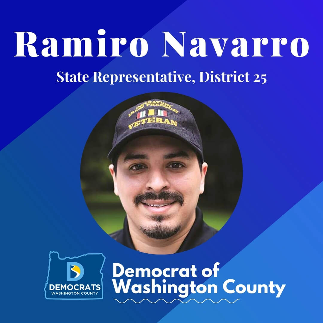 ramiro navaro 2020 candidate headshot photo with washco dems logo blue background