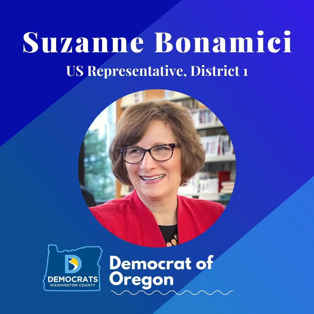 suzanne bonamici 2020 democrat candidate headshot photo with washco dems logo blue background