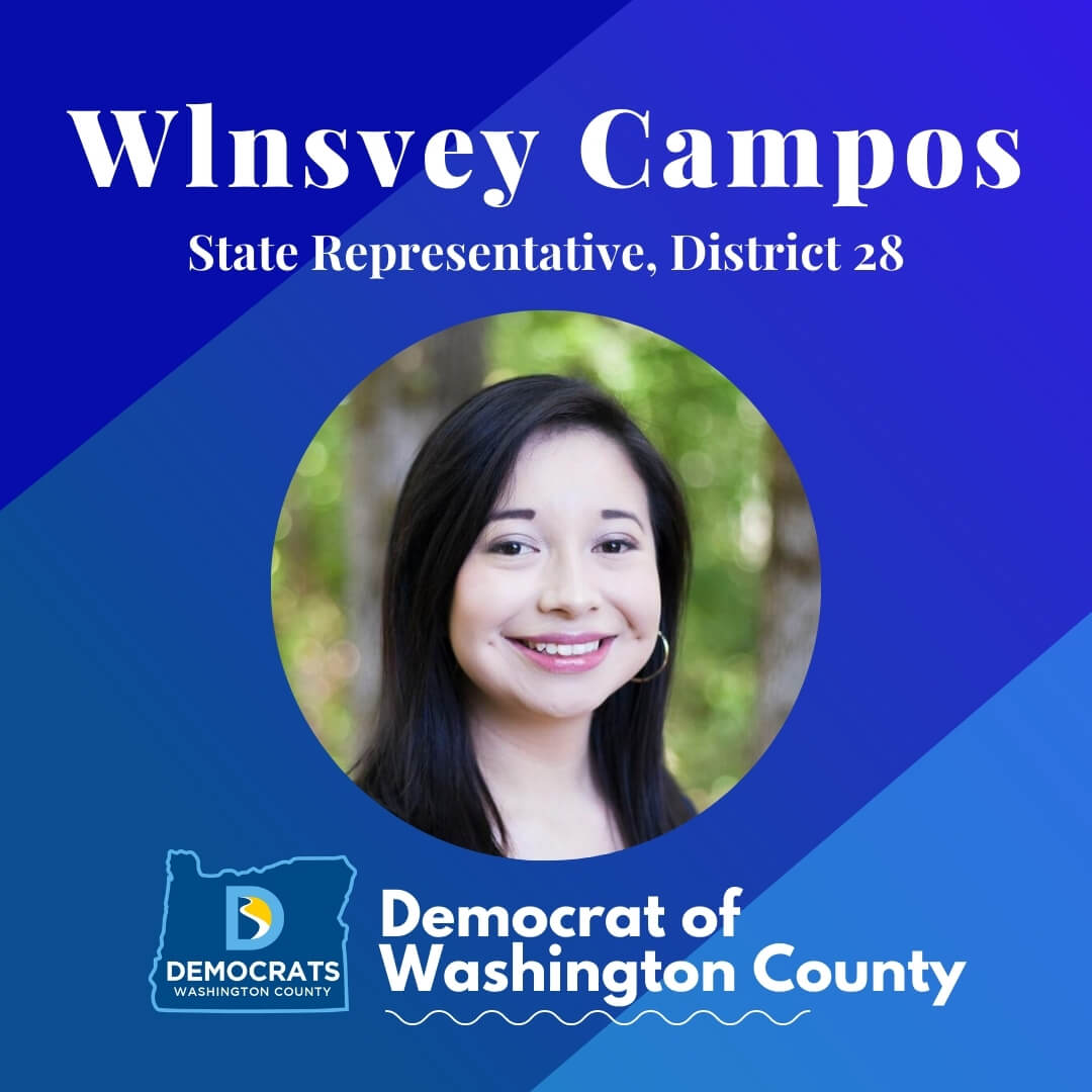 wlnsvey campos 2020 candidate headshot photo with washco dems logo blue background