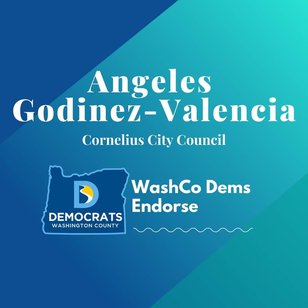 angeles godinez valencia 2020 candidate with washco dems logo teal background