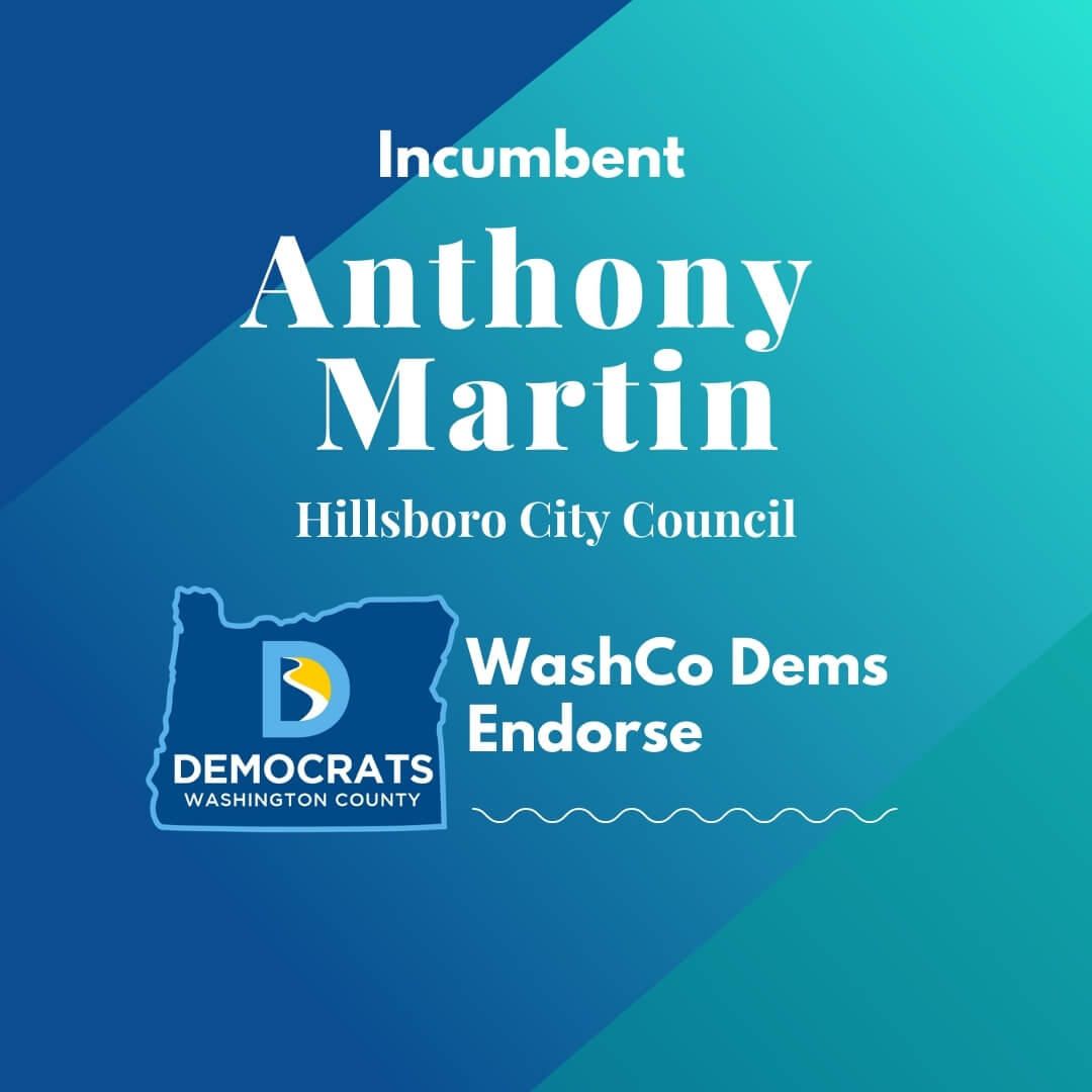 2020 primary candidate anthony martin with washco dems logo blue and teal background