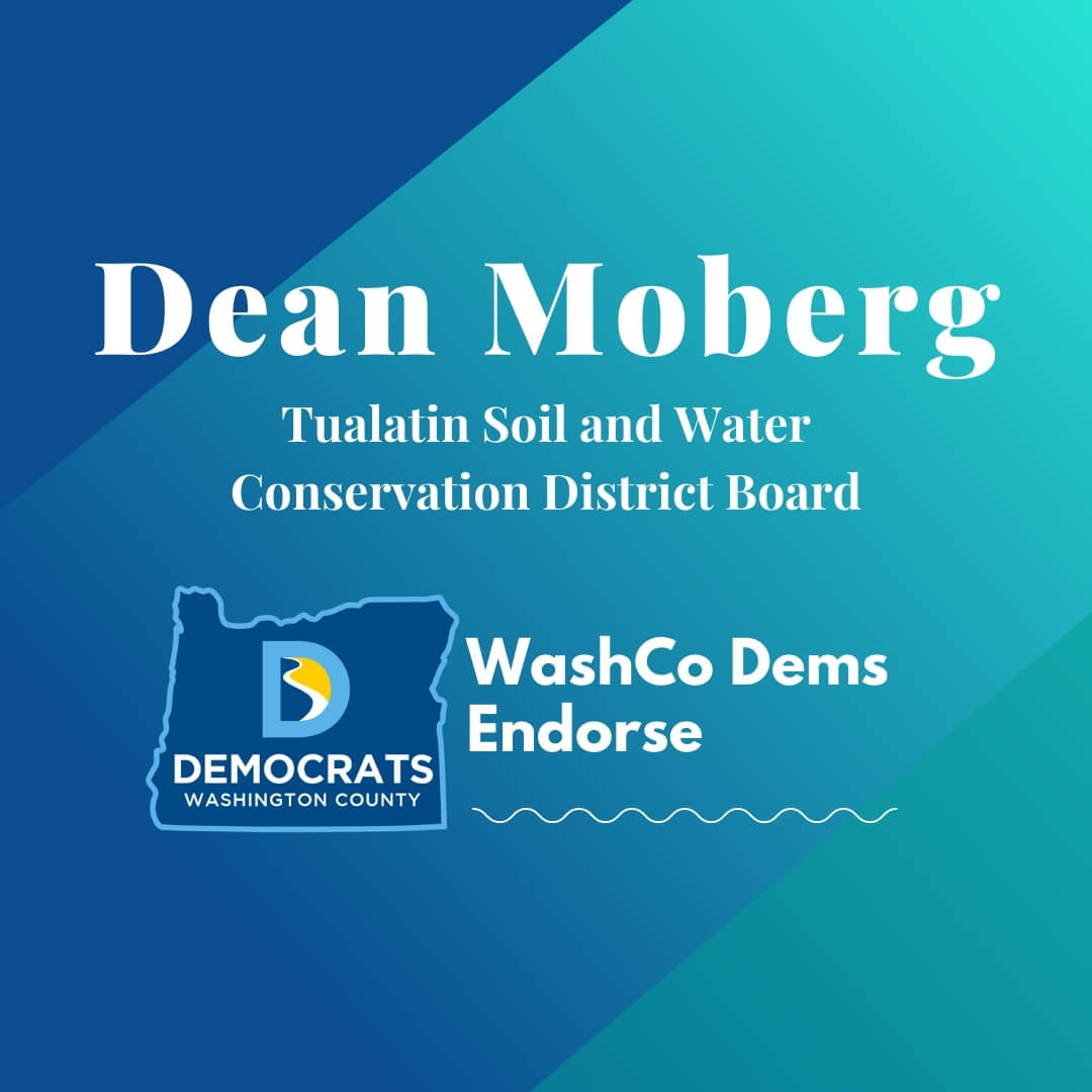 2020 primary candidate dean moberg with washco dems logo blue and teal background