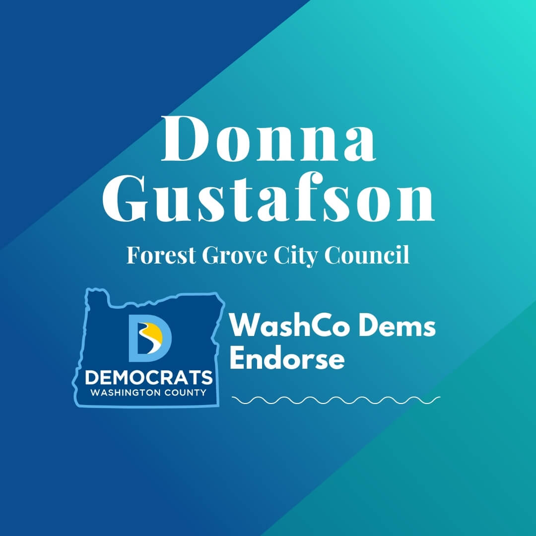 2020 primary candidate donna gustafson with washco dems logo blue and teal background