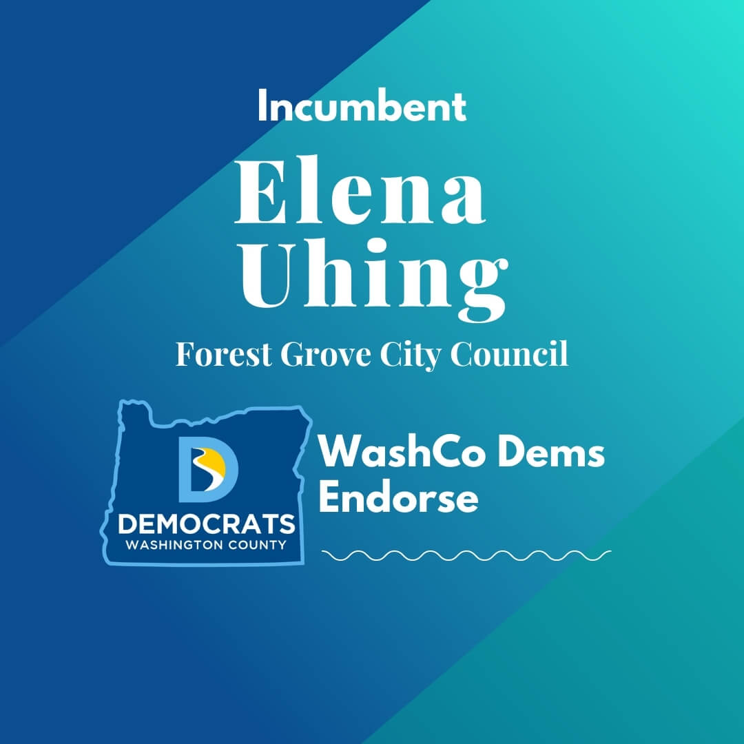 2020 primary candidate elena uhing with washco dems logo blue and teal background