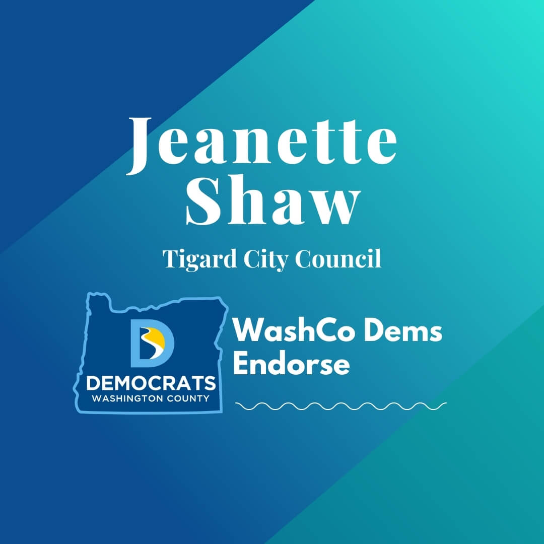2020 primary candidate jeanette shaw with washco dems logo blue and teal background