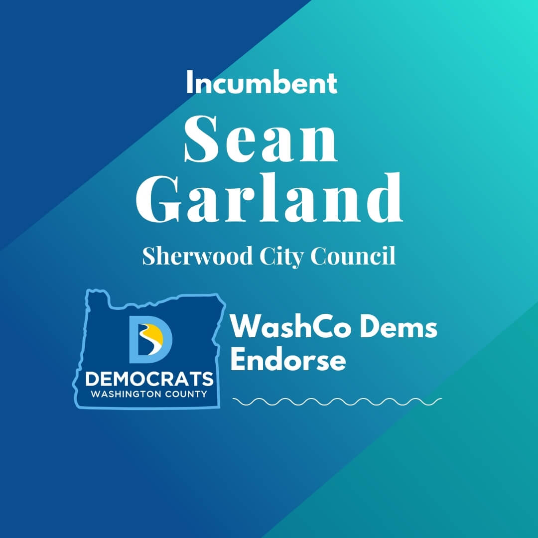 2020 primary candidate sean garland with washco dems logo blue and teal background