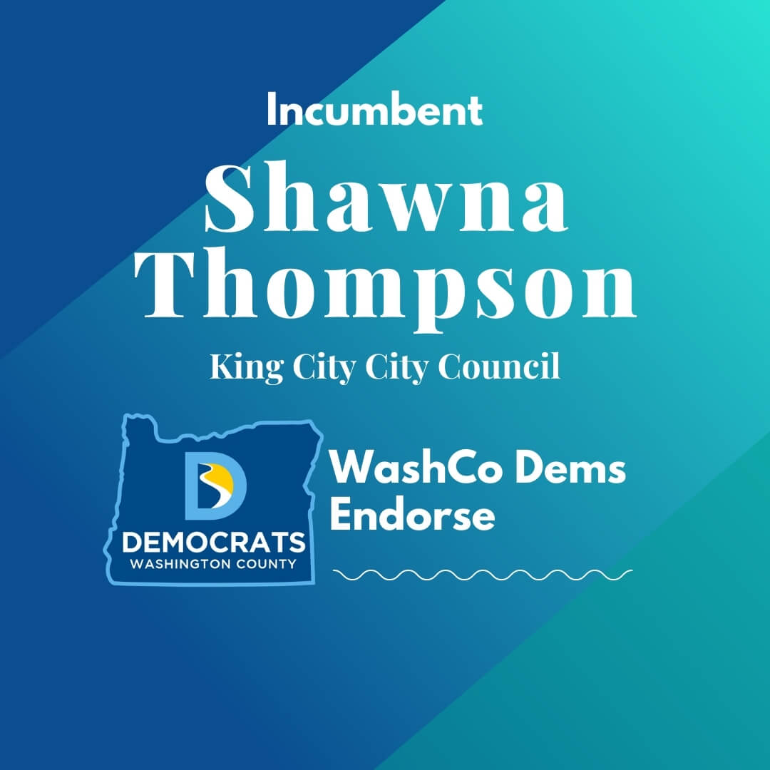 2020 primary candidate shawna thompson with washco dems logo blue and teal background