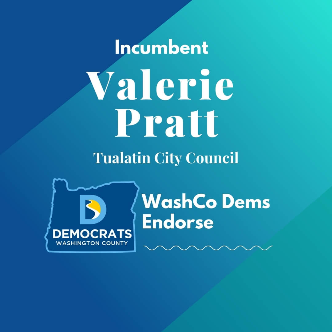 2020 primary candidate valerie pratt with washco dems logo blue and teal background