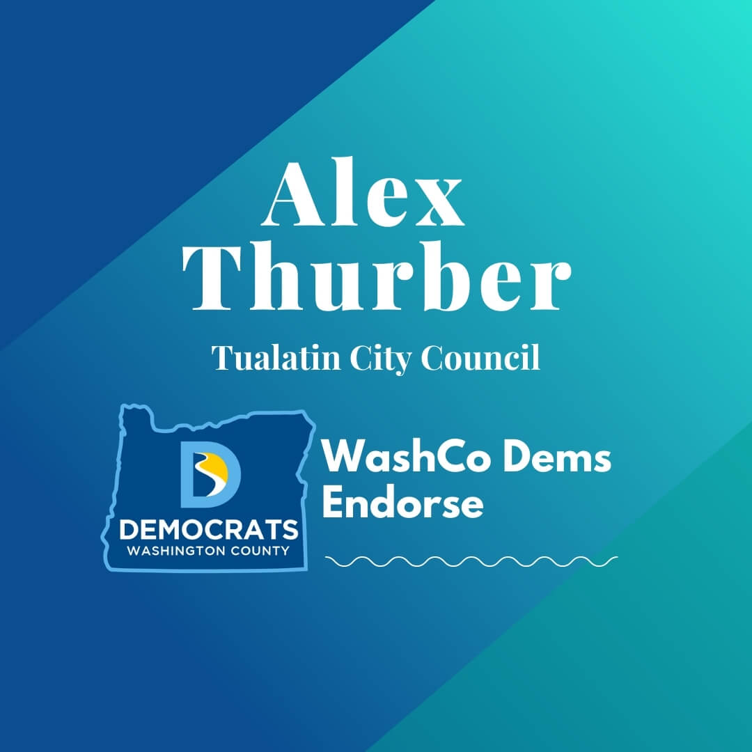 2020 primary candidate alex thurber with washco dems logo blue and teal background